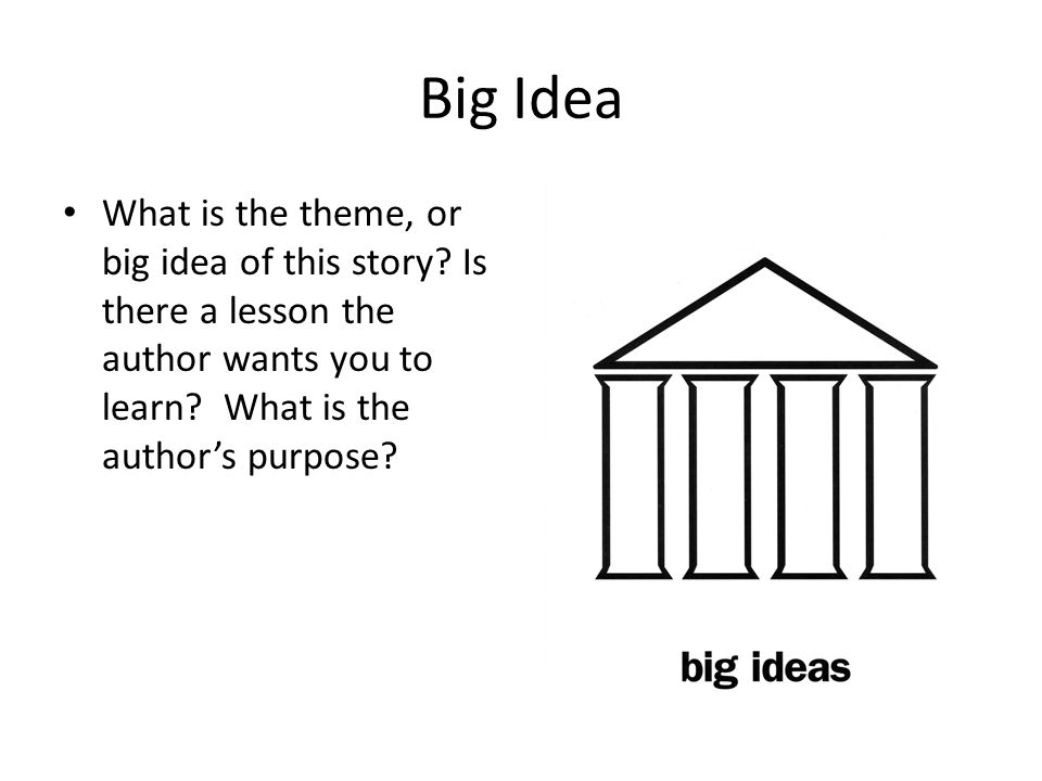 Big Idea What is the theme, or big idea of this story.
