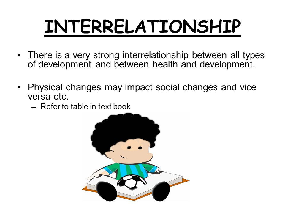 INTERRELATIONSHIP There is a very strong interrelationship between all types of development and between health and development.