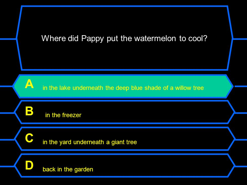 Where did Pappy put the watermelon to cool