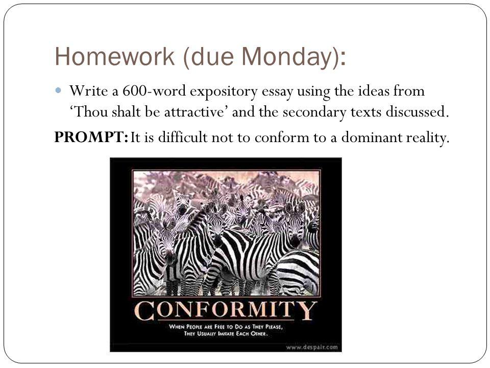 Homework (due Monday):