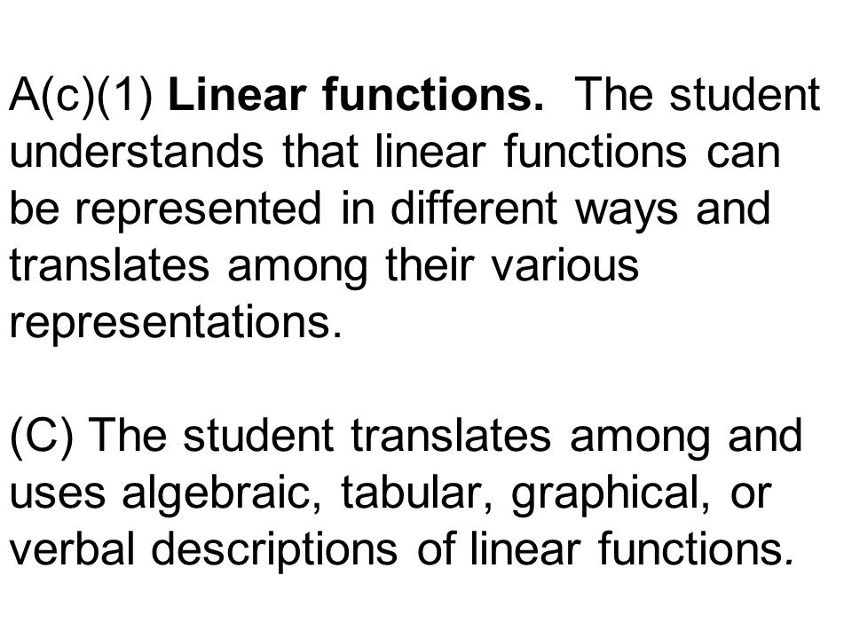 A(c)(1) Linear functions