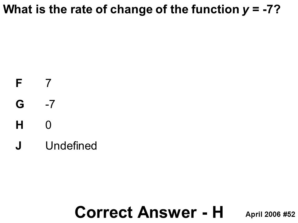 Correct Answer - H What is the rate of change of the function y = -7