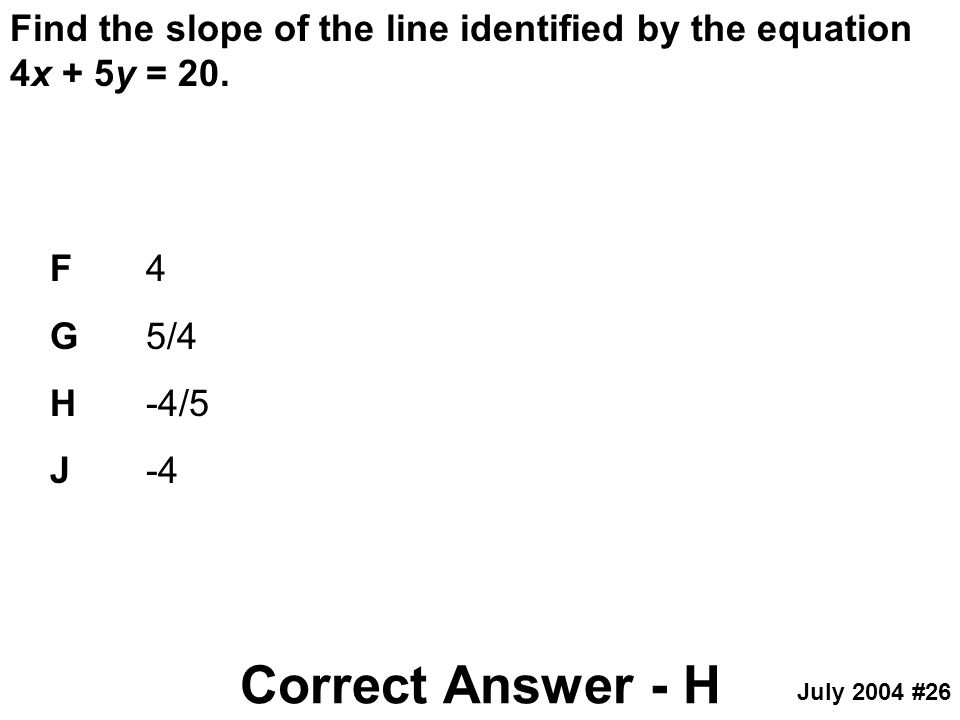 Find the slope of the line identified by the equation 4x + 5y = 20.