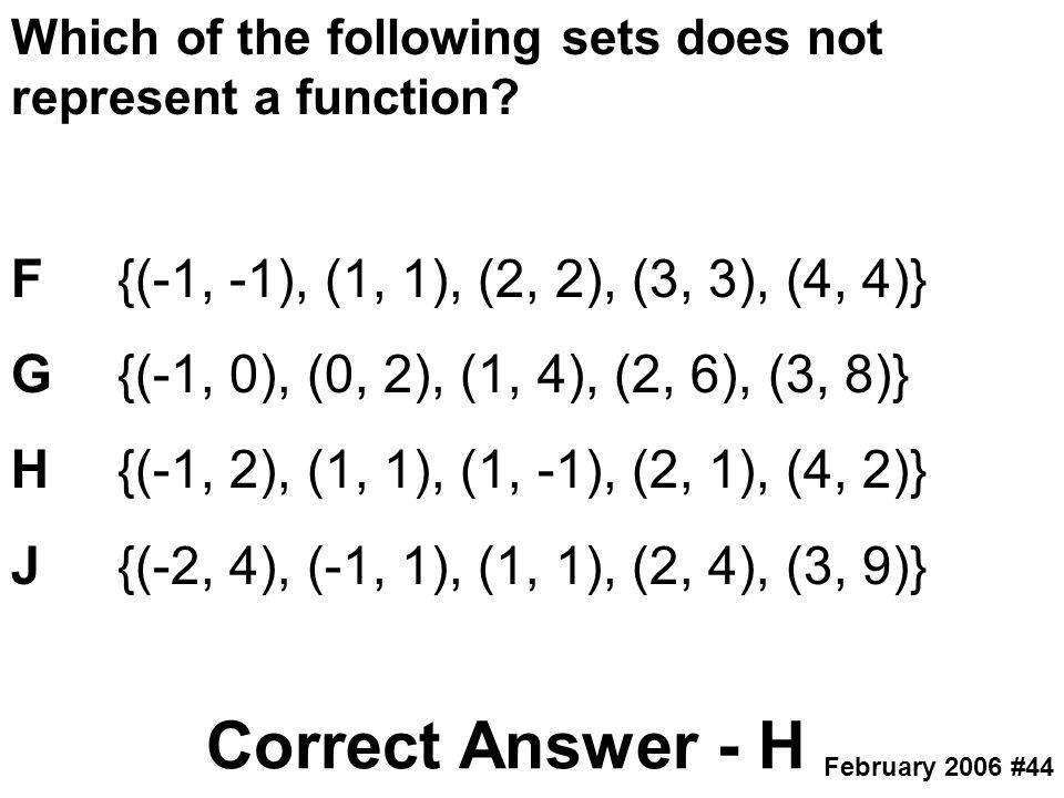 Correct Answer - H F {(-1, -1), (1, 1), (2, 2), (3, 3), (4, 4)}