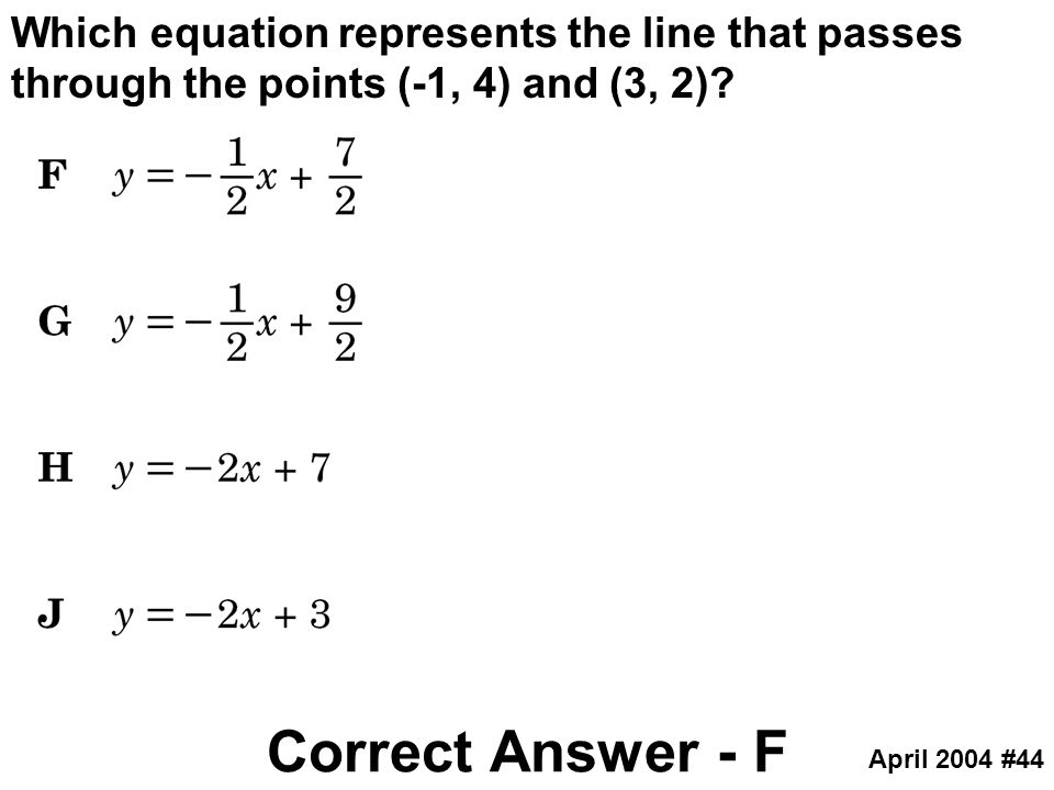 Which equation represents the line that passes through the points (-1, 4) and (3, 2)