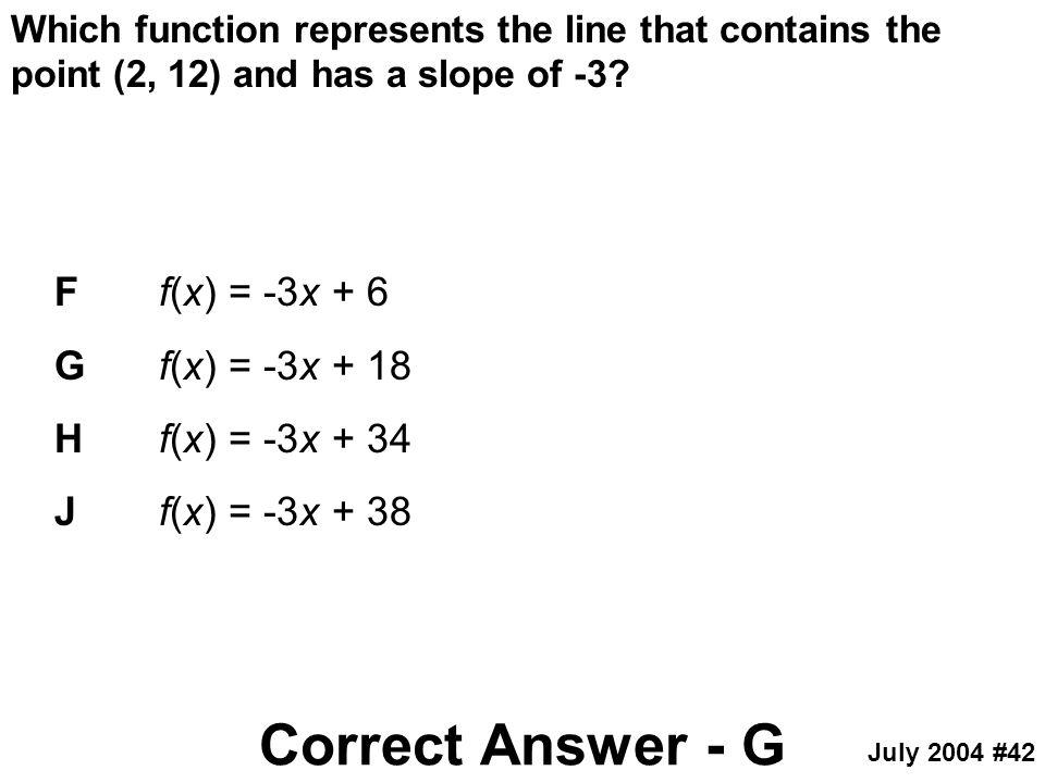 Correct Answer - G F f(x) = -3x + 6 G f(x) = -3x + 18
