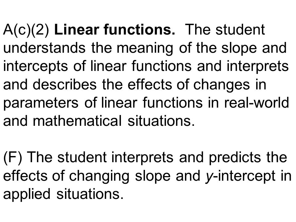 A(c)(2) Linear functions