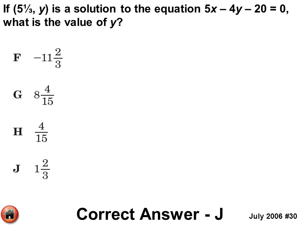 If (5⅓, y) is a solution to the equation 5x – 4y – 20 = 0, what is the value of y
