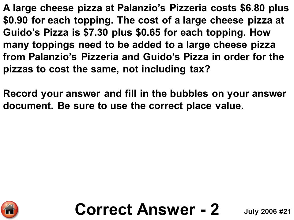 A large cheese pizza at Palanzio's Pizzeria costs $6. 80 plus $0
