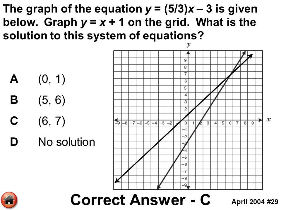 Correct Answer - C A (0, 1) B (5, 6) C (6, 7) D No solution