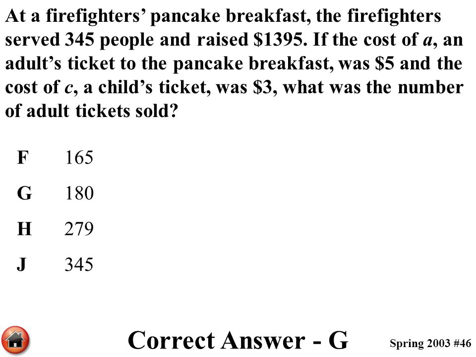 At a firefighters' pancake breakfast, the firefighters served 345 people and raised $1395. If the cost of a, an adult's ticket to the pancake breakfast, was $5 and the cost of c, a child's ticket, was $3, what was the number of adult tickets sold