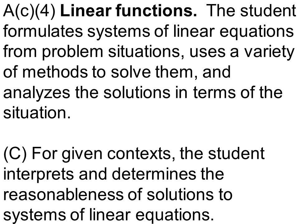 A(c)(4) Linear functions