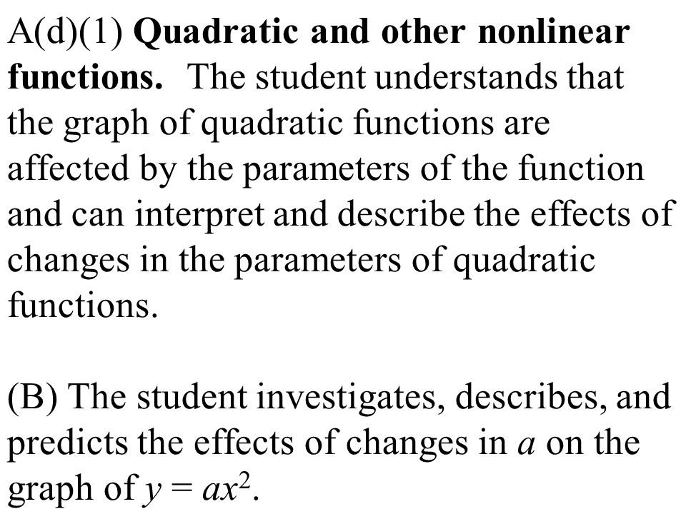 A(d)(1) Quadratic and other nonlinear functions