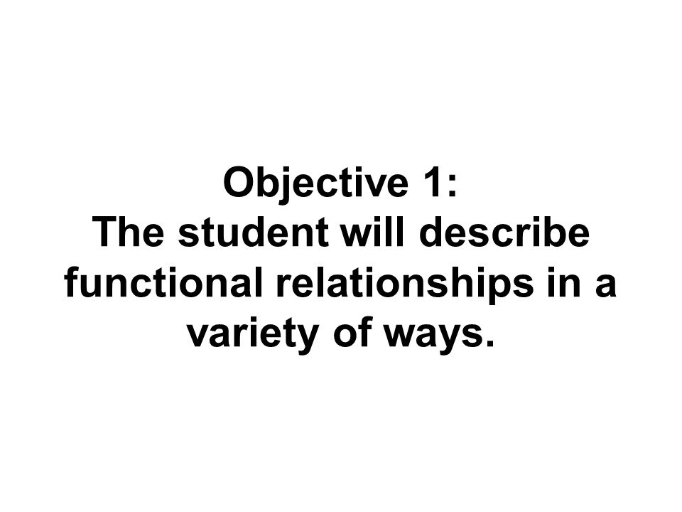 Objective 1: The student will describe functional relationships in a variety of ways.