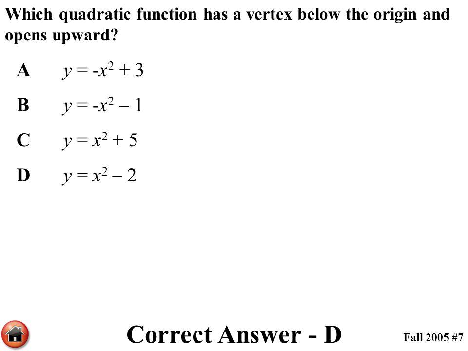 Correct Answer - D A y = -x2 + 3 B y = -x2 – 1 C y = x2 + 5