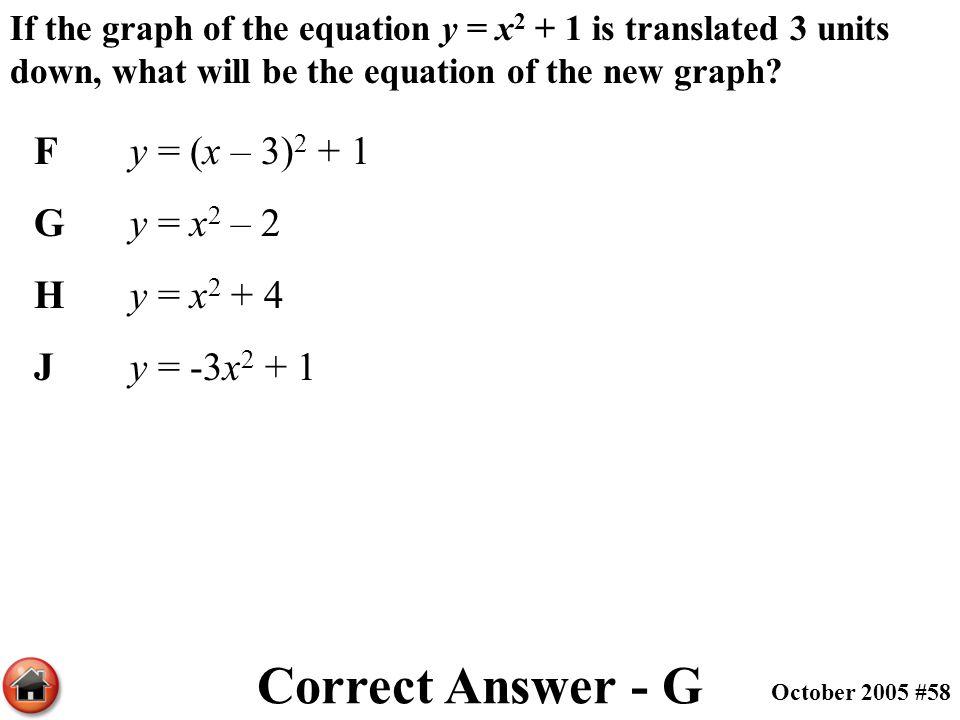 Correct Answer - G F y = (x – 3)2 + 1 G y = x2 – 2 H y = x2 + 4