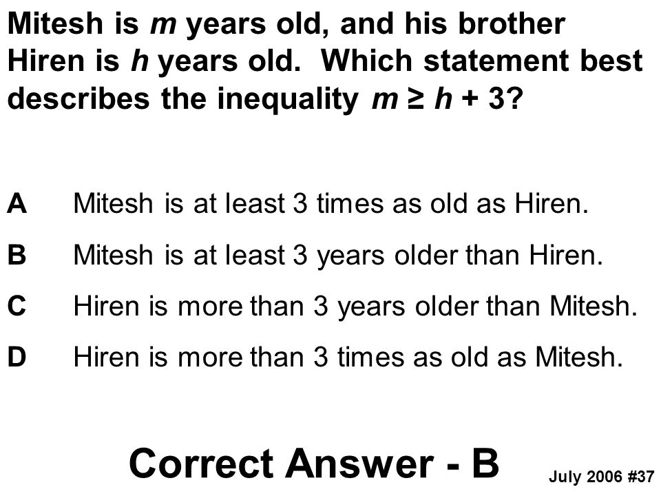 Mitesh is m years old, and his brother Hiren is h years old