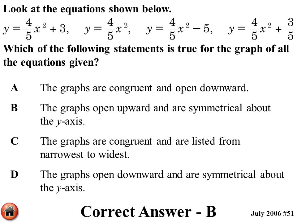 Correct Answer - B Look at the equations shown below.