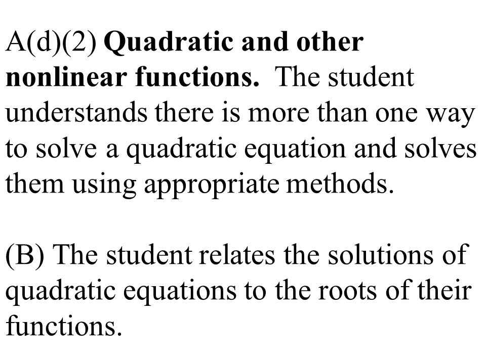 A(d)(2) Quadratic and other nonlinear functions