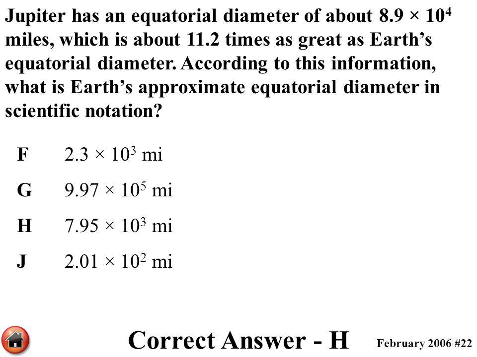 Jupiter has an equatorial diameter of about 8