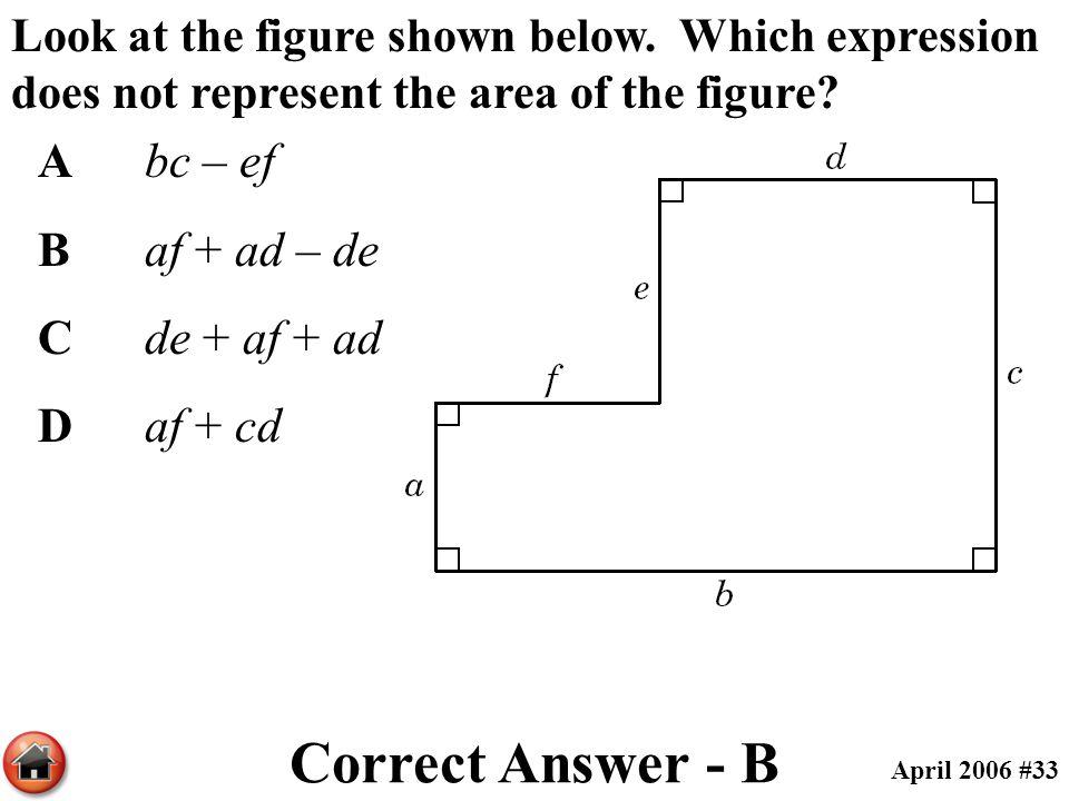 Correct Answer - B A bc – ef B af + ad – de C de + af + ad D af + cd