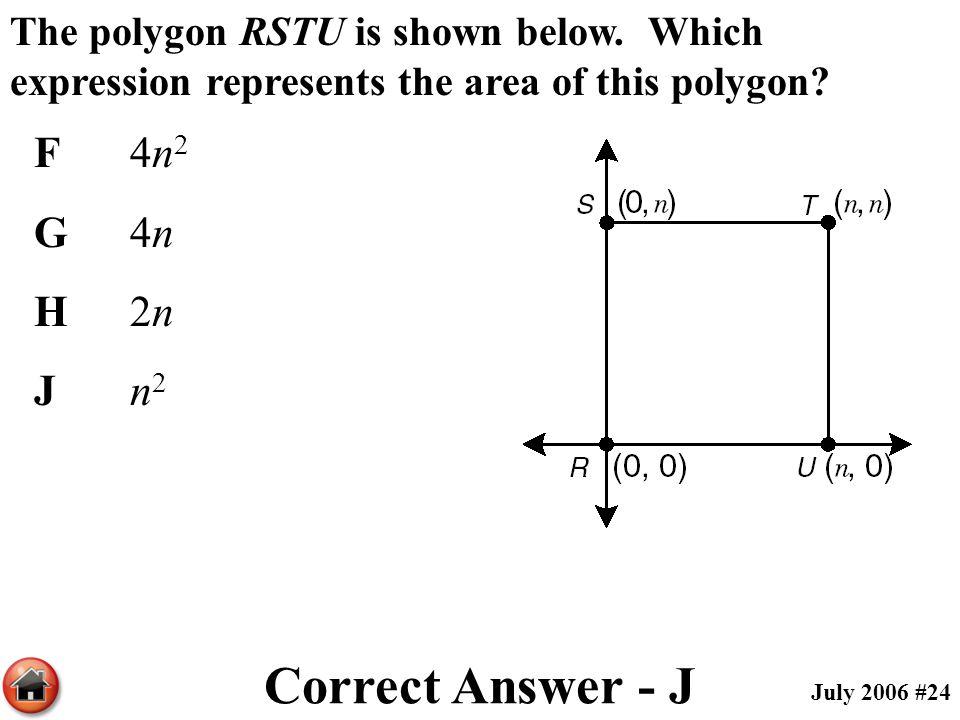 Correct Answer - J F 4n2 G 4n H 2n J n2