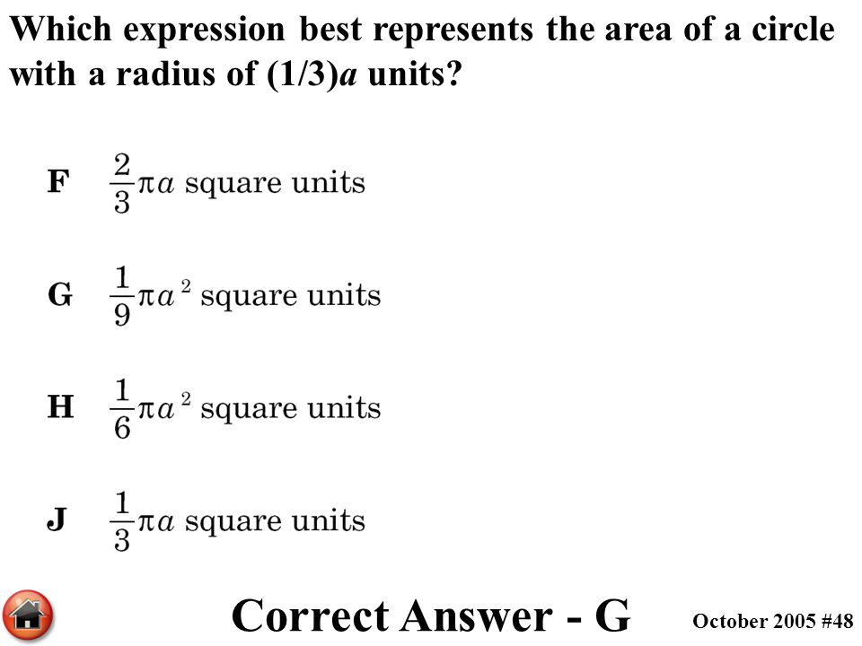 Which expression best represents the area of a circle with a radius of (1/3)a units