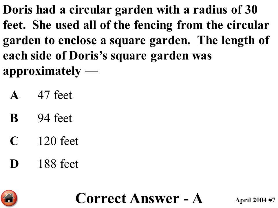 Doris had a circular garden with a radius of 30 feet