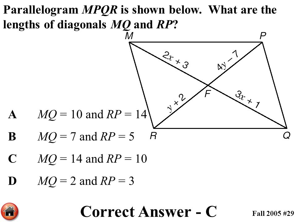 Parallelogram MPQR is shown below