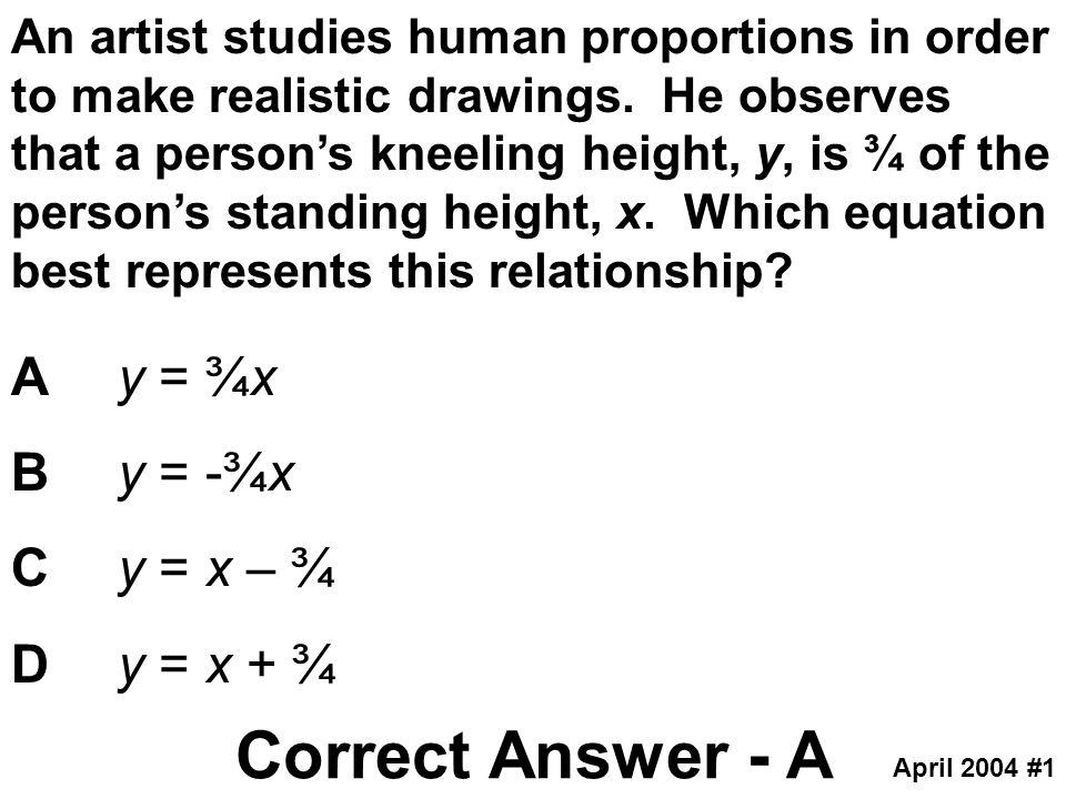 Correct Answer - A A y = ¾x B y = -¾x C y = x – ¾ D y = x + ¾