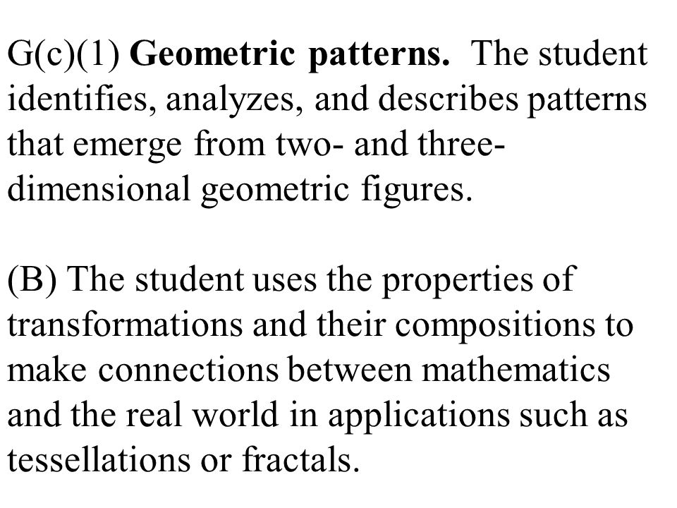 G(c)(1) Geometric patterns