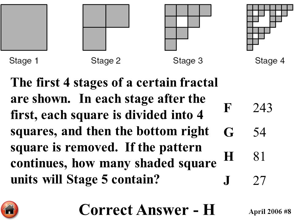 The first 4 stages of a certain fractal are shown