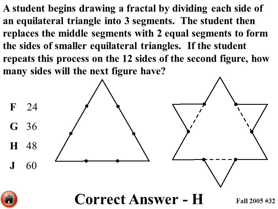 A student begins drawing a fractal by dividing each side of an equilateral triangle into 3 segments. The student then replaces the middle segments with 2 equal segments to form the sides of smaller equilateral triangles. If the student repeats this process on the 12 sides of the second figure, how many sides will the next figure have