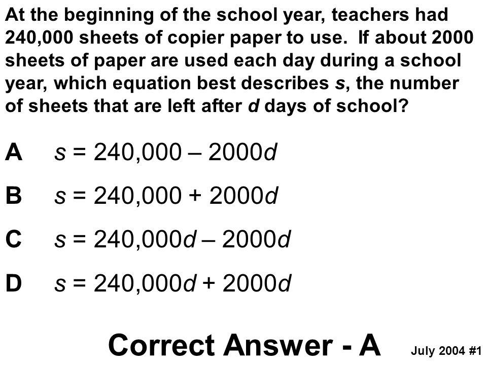 Correct Answer - A A s = 240,000 – 2000d B s = 240,000 + 2000d