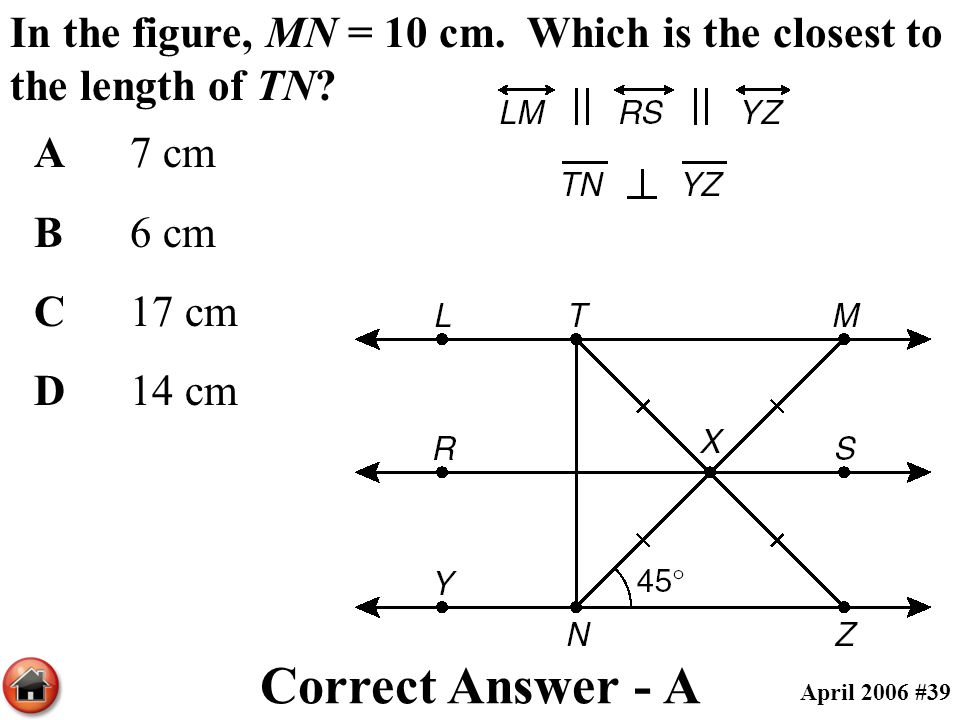 In the figure, MN = 10 cm. Which is the closest to the length of TN