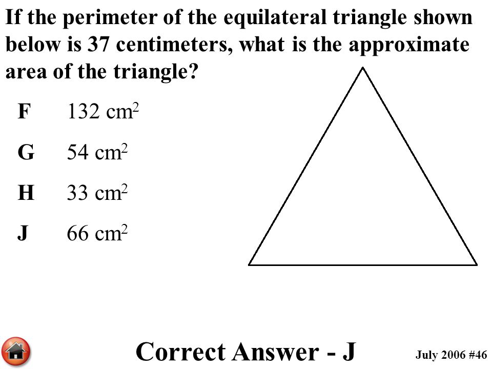 If the perimeter of the equilateral triangle shown below is 37 centimeters, what is the approximate area of the triangle