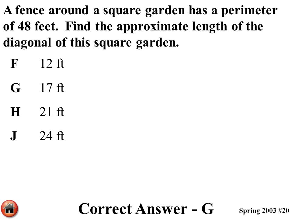 A fence around a square garden has a perimeter of 48 feet