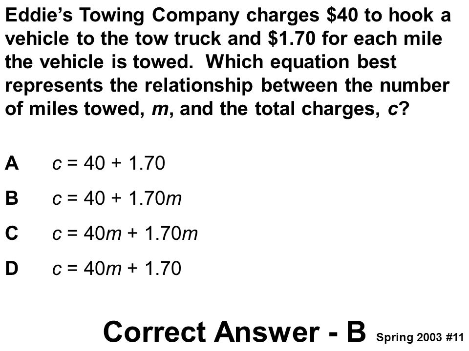 Eddie's Towing Company charges $40 to hook a vehicle to the tow truck and $1.70 for each mile the vehicle is towed. Which equation best represents the relationship between the number of miles towed, m, and the total charges, c