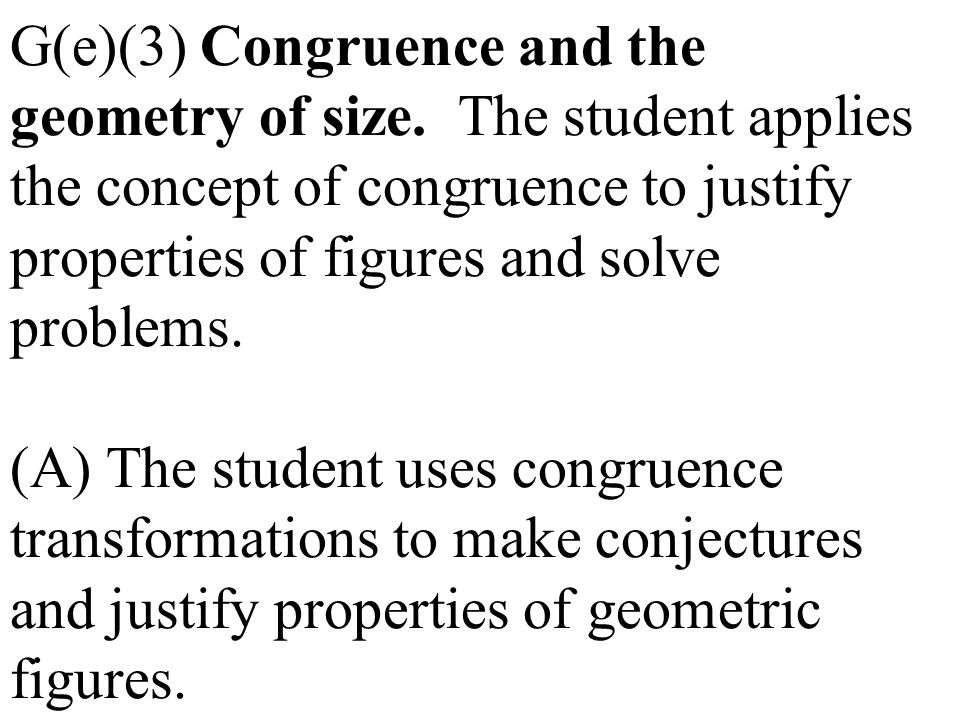 G(e)(3) Congruence and the geometry of size