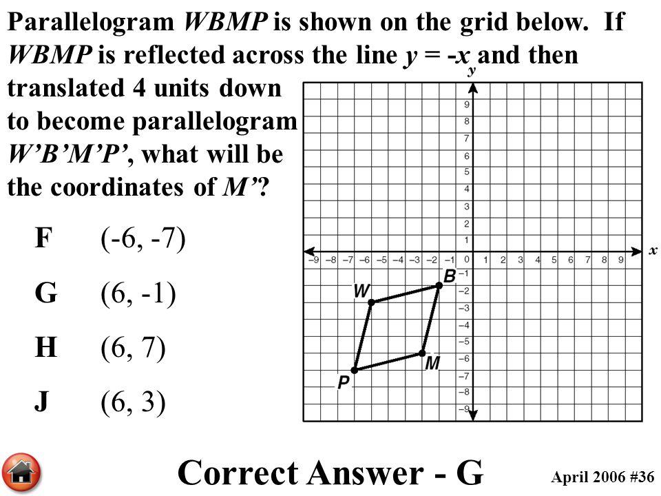 Correct Answer - G F (-6, -7) G (6, -1) H (6, 7) J (6, 3)