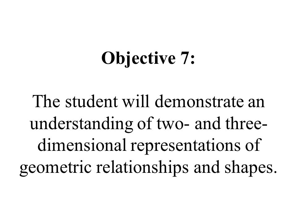 Objective 7: The student will demonstrate an understanding of two- and three-dimensional representations of geometric relationships and shapes.