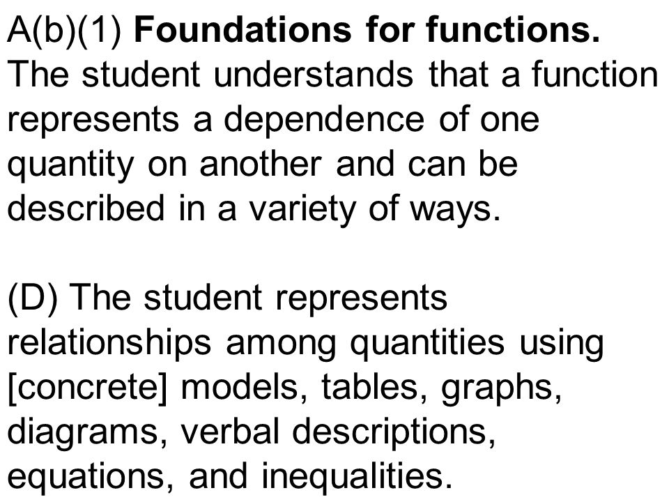 A(b)(1) Foundations for functions