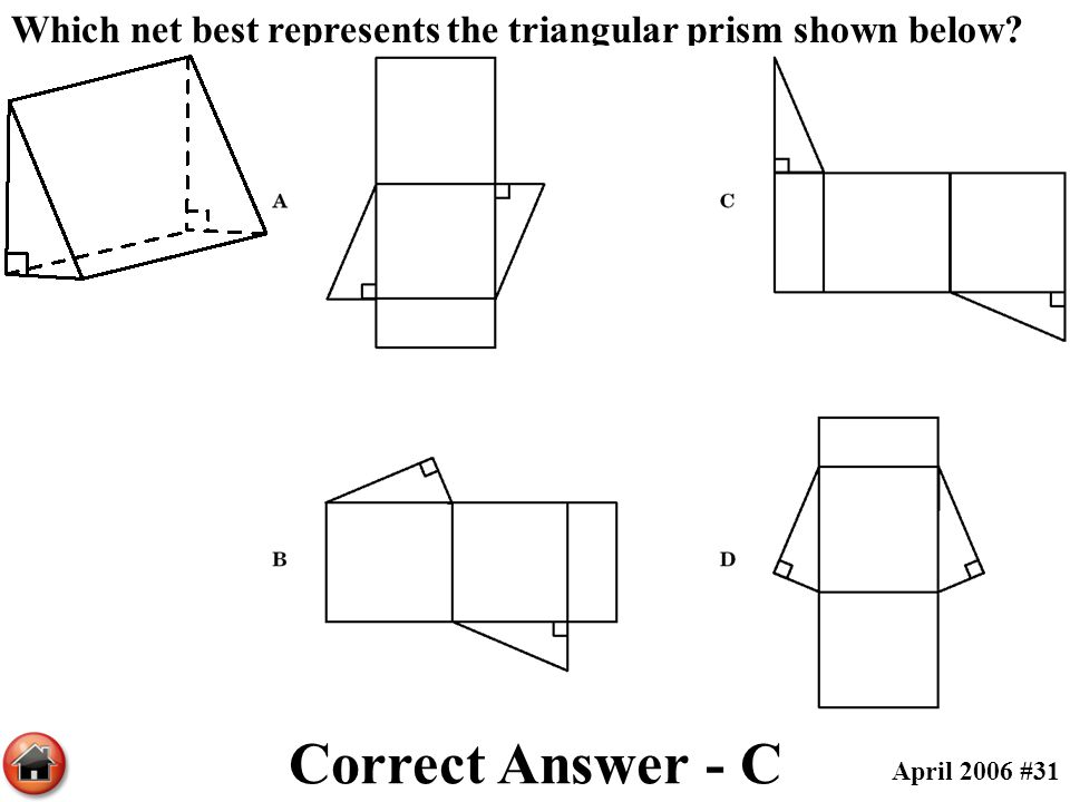 Which net best represents the triangular prism shown below