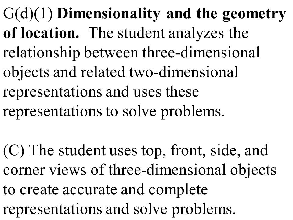 G(d)(1) Dimensionality and the geometry of location