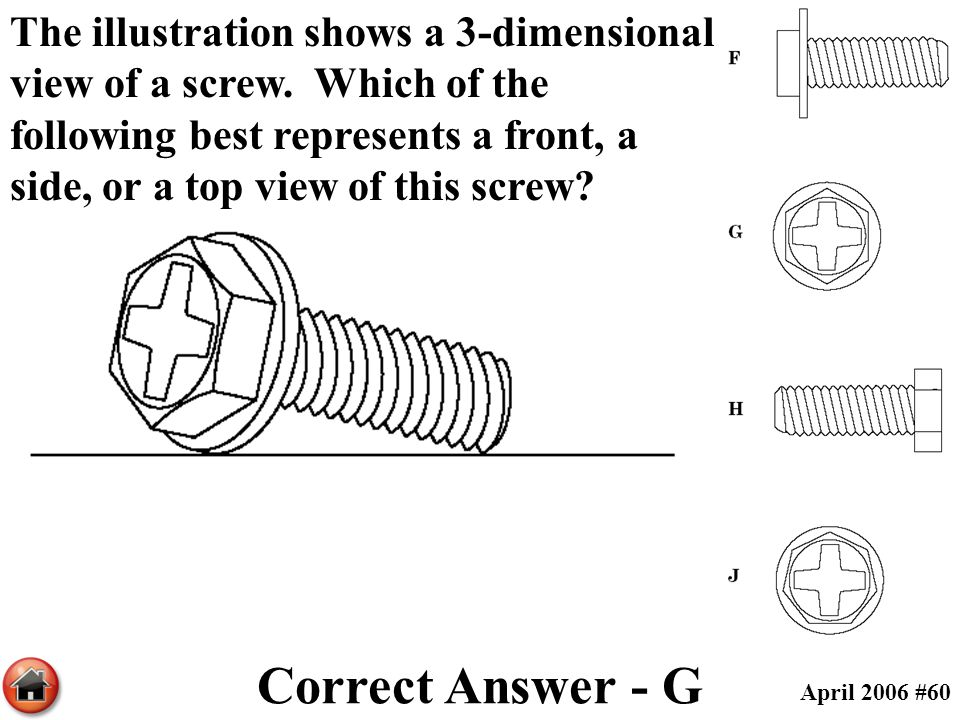 The illustration shows a 3-dimensional view of a screw