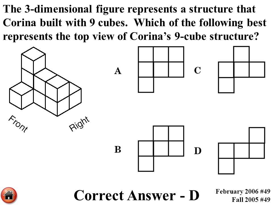 The 3-dimensional figure represents a structure that Corina built with 9 cubes. Which of the following best represents the top view of Corina's 9-cube structure