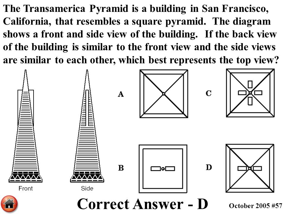 The Transamerica Pyramid is a building in San Francisco, California, that resembles a square pyramid. The diagram shows a front and side view of the building. If the back view of the building is similar to the front view and the side views are similar to each other, which best represents the top view