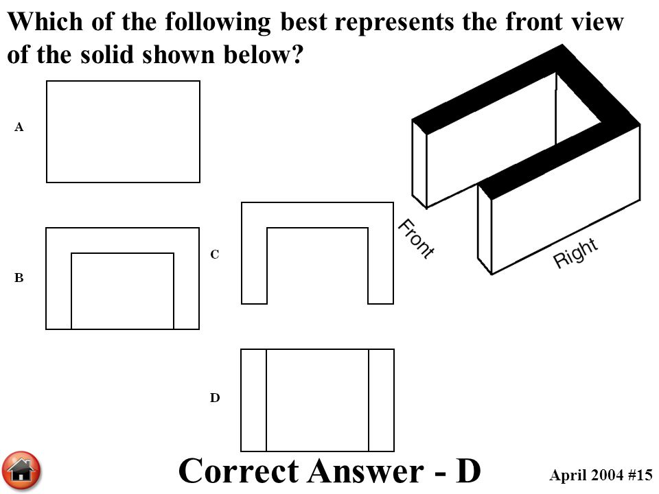 Which of the following best represents the front view of the solid shown below