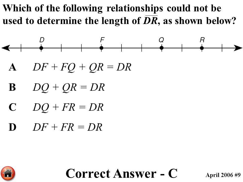 Correct Answer - C A DF + FQ + QR = DR B DQ + QR = DR C DQ + FR = DR