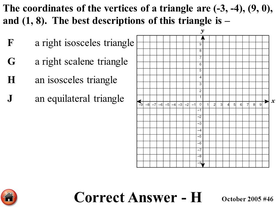 The coordinates of the vertices of a triangle are (-3, -4), (9, 0), and (1, 8). The best descriptions of this triangle is –